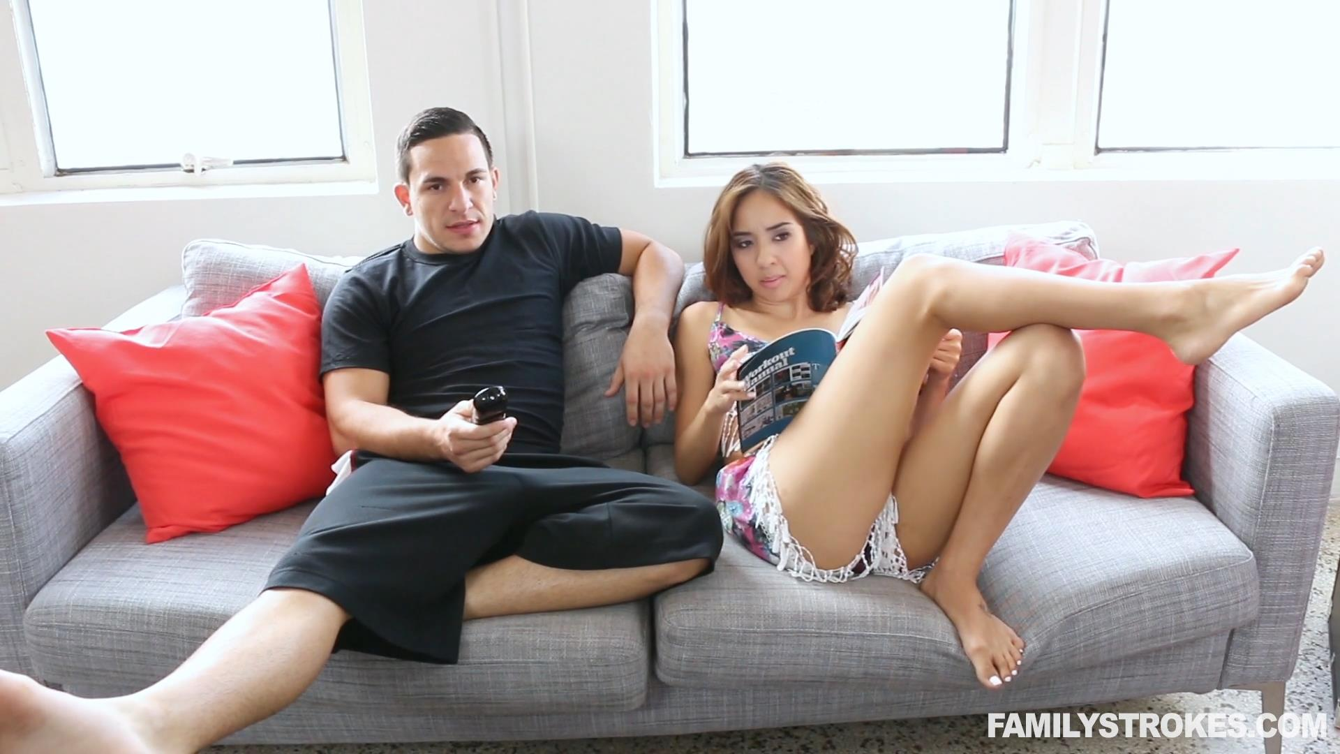 3rd attempt to fuck his step-sister worked! - family strokes
